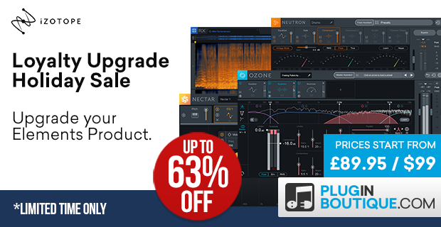 iZotope Loyalty Upgrade Holiday Sale, save up to 50% off at Plugin Boutique