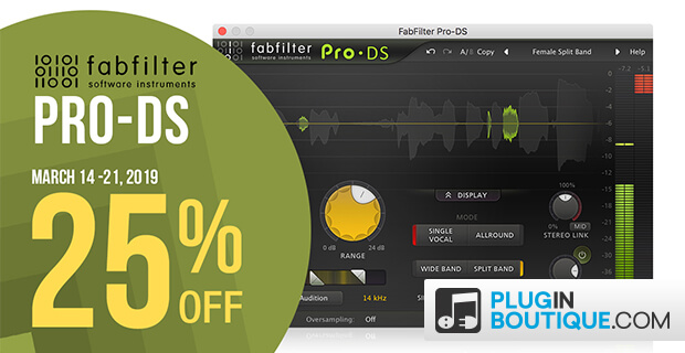 FabFilter Pro-DS sale, save 25% off at Plugin Boutique