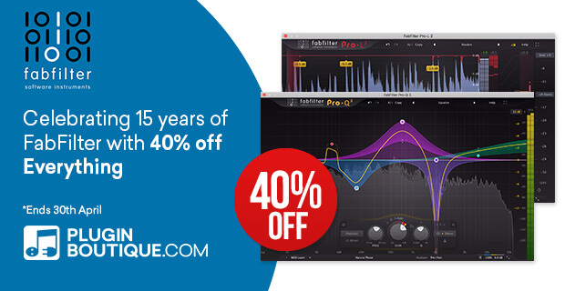 FabFilter 15th Anniversary Sale, save 40% off at Plugin Boutique